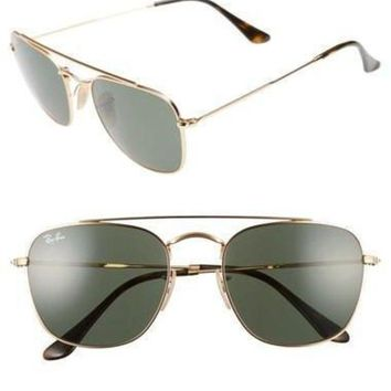 UCANUJ3V Ray-Ban 54mm Gold/Green Square Sunglasses