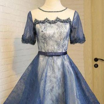 Vintage A-Line Crew Knee-Length Short Sleeves Navy Blue Lace Homecoming Dresses OK455