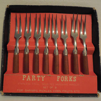 "Retro Hors d'oeuvre Forks 4"", Pickle, Shrimp and Olive Forks, Party Utensils, Stainless Steel Hors d'oeuvre Forks, Retro Party Supply"