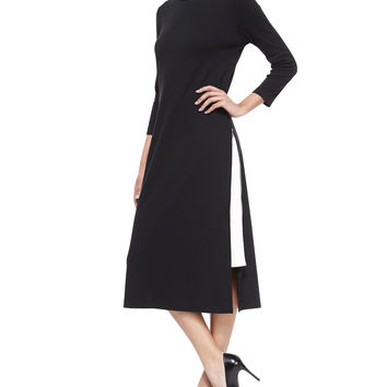 Long Zipper Dress W/ Contrast Gusset, Petite, Size: