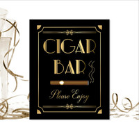 Cigar Bar Sign, PRINTABLE Sign, Roaring 20's, Art Digital Download, Art Deco, Cigar Art, Wedding Decor, Party Decorations, Wedding Sign