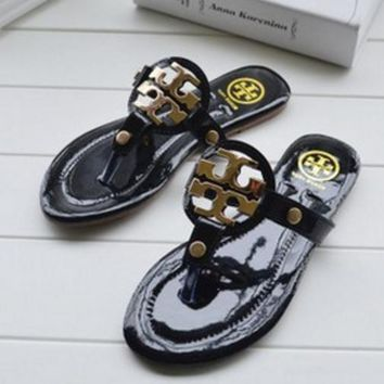 Tory Burch Women Casual Fashion Flat Sandal Slipper Shoes Black G