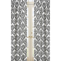 Sweet Jojo Designs Isabella Damask Black and White Curtain Panel Pair