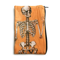 Orange Anatomical Skeleton Makeup Bag