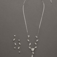 Floral Scroll Design Necklace and Earring Set - David's Bridal