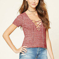 Marled Knit Lace-Up Sweater Top