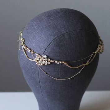 Bridal Head Chain Crystal Bridal Halo Headpiece
