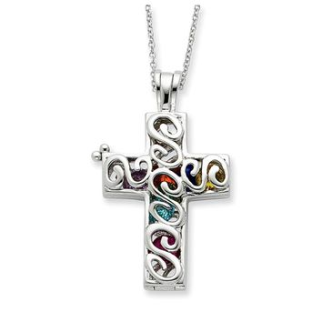 Promises of The Rainbow, Cross Silver Necklace with Cubic Zirconia