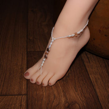 Champagne Pearl Barefoot Sandals Beach Wedding Foot jewelry Anklet Beach Jewelry Bridesmaids Gift