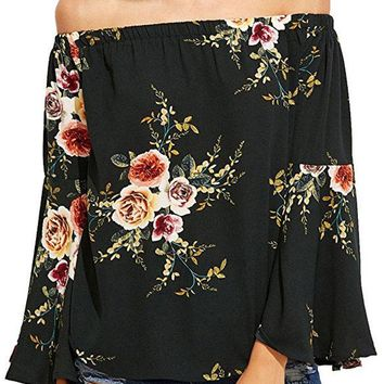 Black Floral Elastic Off Shoulder Bell Sleeve Top