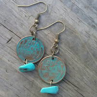 Wheat penny coin earrings. One cent dangle earrings. Turquoise Patina finish dangle earrings.  Magnesite gemstone earrings.