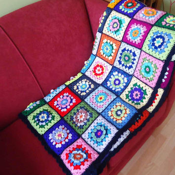 Crochet Blanket, Afgan Blanket, Crochet Throw, Crochet Blanket, Granny Square Blanket , Multicolour Afgan Blanket