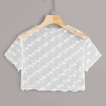 Lettuce Trim Sheer Mesh Crop Top