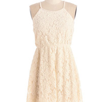 ModCloth Mid-length Halter A-line Lace Be Honest Dress