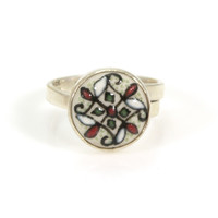 Hand Painted Ceramic and Sterling Silver Ring by Javier Servin