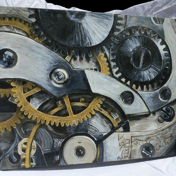 Acrylic Metallic Clock and Gears Painting