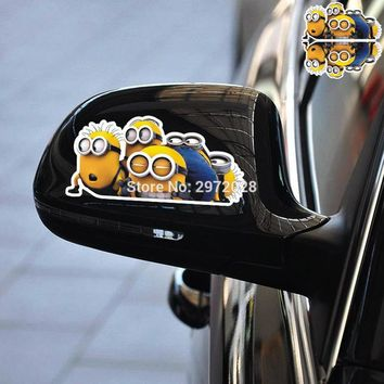 2 x Newest Funny Car Styling Minions Peering Despicable Me Group Car Rear View Mirrors Car Body Stickers Car Decal