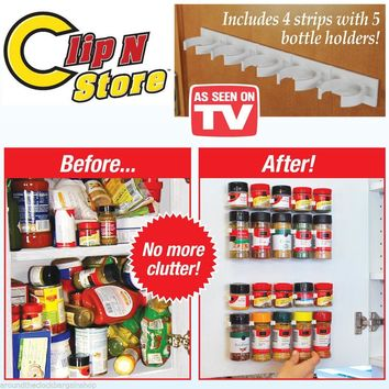 Brand New 4pcs Strips Hold 20 Bottles Kitchen Spices Storage Rack Shelf Organizer Wall Holder As Seen On TV  Shipping