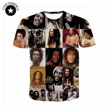Men Women T Shirts Reggae Bob Marley 3D Printing Tee Punk T-shirt Casual T Shirt Hip Hop Summer Casual Tops