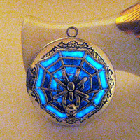 Spider Locket Glowing Locket Glows in the Dark Jewelry Halloween Costume Creepy Crawly Midnight Blue Antiqued Silver Skull Necklace Locket