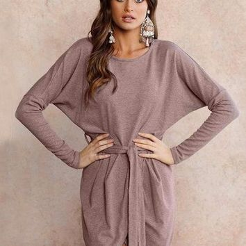 Loose Wrap Autumn Dress  - Strawberry Mocha
