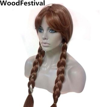 princess cosplay wigs for women brown double ponytail wig blonde braid heat resistant woman synthetic hair WoodFestival