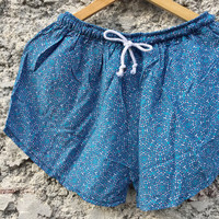 Abstract Blue Shorts Rayon beach Style Clothing Bohemian Ikat Patterns For Summer for Women Men gift for him cute and unique