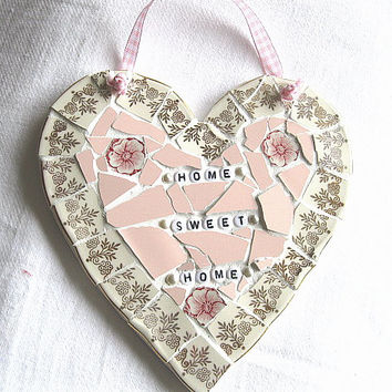 Shabby chic mosaic heart plaque - Home sweet home