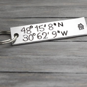 Personalized Latitude Longitude Key Chain
