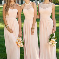 Three Style Long A Line Bridesmaid Dresses Pink Chiffon Elegant P Gowns Plus Size Bridesmaid Dress For Wedding Party