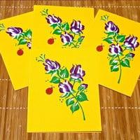 Yellow Cards With Hand Painted Purple Roses