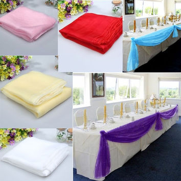 5x1.4m Organza Table Runners Wedding Party Banquet Bow Decoration 6 Colors = 1933124484