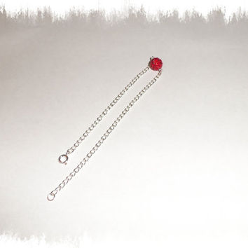 Red Pave Rhinestone Crystal Silver Plated Anklet Ankle Bracelet