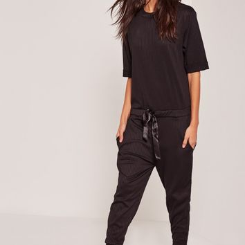 Missguided - Ribbed Slouch Nightwear Onesuit Black