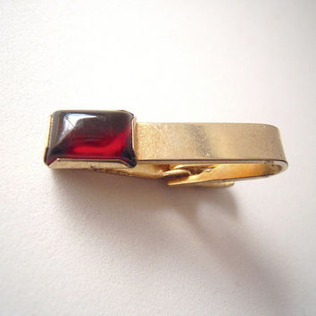 Signed gold tone tie bar clip with garnet red jelly cabochon stone, rare vintage tie bar clip, optional money clip,ruby red and gold,