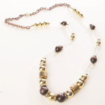 Cadoro Vintage Jewelry Lucite Translucent Beaded Long Necklace