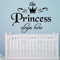 Wall Decal Quote The Princess Sleep Here Vinyl Sticker Nursery Crown Decor SM189