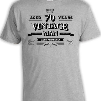 Custom Birthday Shirt 70th Birthday Gifts For Men Grandpa Gift Ideas Personalized Bday TShirt Aged 70 Years Old Vintage Man Mens Tee DAT-810