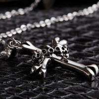 Cool Reteo Old Silver Skull Punk Style Cross Pendant Chain Necklace Gift-40