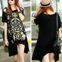 Fashion Women Tops Punk Loose Skull Printed Long T-shirt Tees Sexy Black Blouses