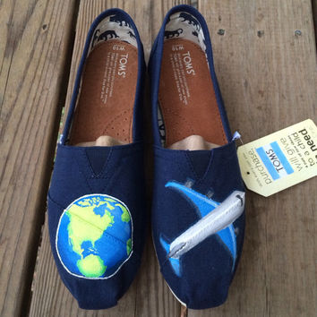 Earth Emoji Airplane Emoji Custom Toms Shoes Jetsetter