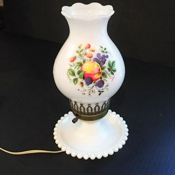 Milk Glass Hurricane Lamp, Hand Painted Milk Glass Lamp Fruit and Leaves, Vintage Milk Glass Lamp Hand Painted Flowers on Hurricane Shade