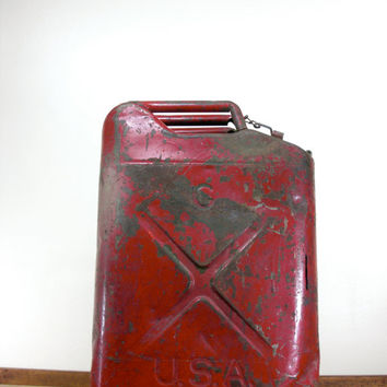 Vintage Military Gas Can, Rare, QMC, Metal Gas Can, Red, 1950s, Jerry Can