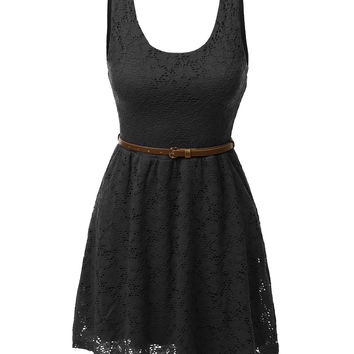 LE3NO Womens Sleeveless Lace Crochet Flared Dress with Belt