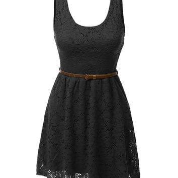 Sleeveless Lace Crochet Flared Dress with Belt
