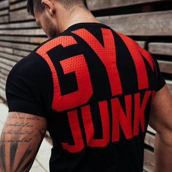 Mens gyms t shirt Fitness Cotton Shirts Short Sleeve workout  clothing
