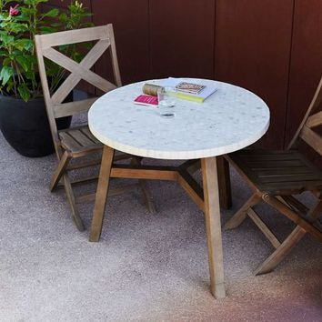 Mosaic Outdoor Bistro Table - White Marble