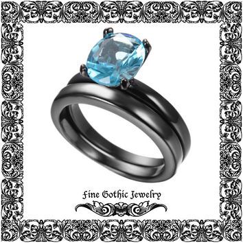Gothic Wedding Rings | Black Wedding Ring | Classic 1.5Ct Oval Aqua Blue Crystal Black Gold Filled Ring Set | Size 6 7 8 9 10 #155-aq
