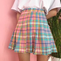 Gradient Plaid Pleated Skirt