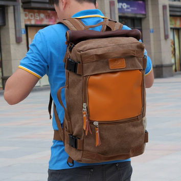 Men's Brown Canvas Backpack Trekking Rucksack Daypack Hiking Bag